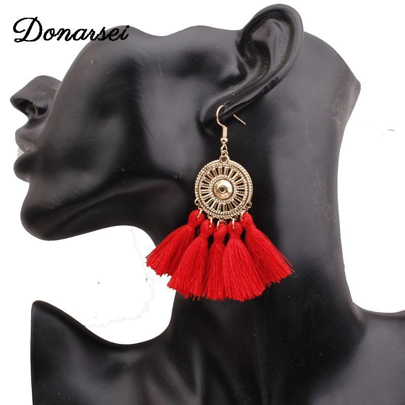 Ethinic Fransen Sonnenblume Quaste Ohrringe für Frauen Böhmischen Sektor Drop Danle Ohrringe Boho Schmuck