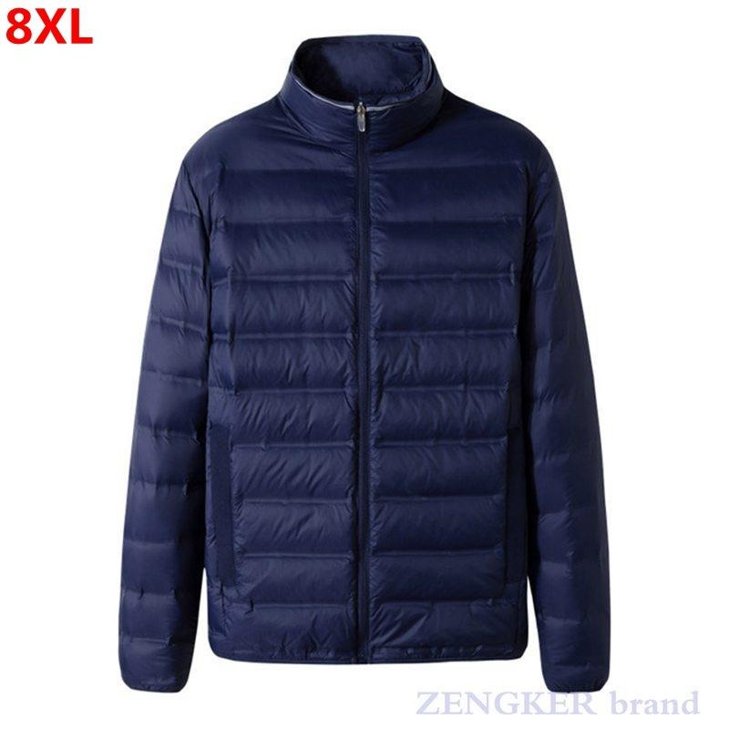 Новый зимний тонкий мужской плюс размер мода повседневная стойка воротник легкий пуховик 7xl8xl