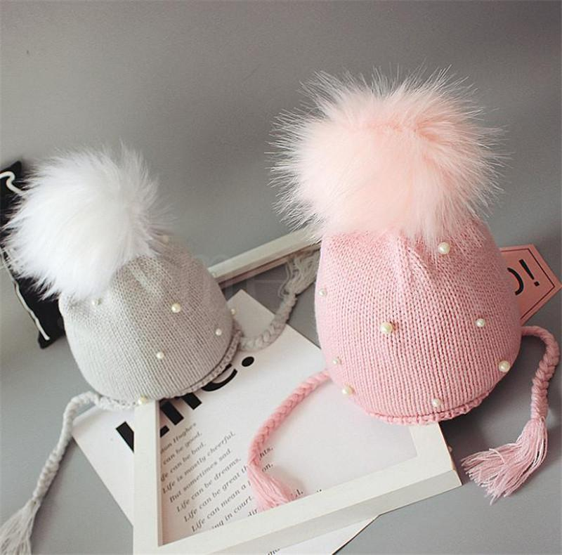 1-5 years old baby walker kid girl baby winter warm pearl crochet hat beanie hat outdoor children hat DB341