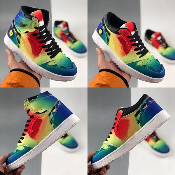 Con caja 2020 j Balvin 1S High OG Womens Mens Baloncesto Zapatos de baloncesto Jumpman Tie Dye Jbalvin Multi-Color Rainbow Mens Trainers Deportes Zapatillas deportivas