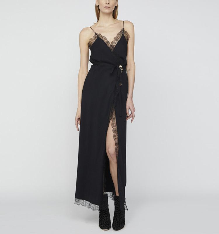 OSL 2021 Bahar Flora Baskı Spagetti Kayışı Orta Buzağı Kolsuz İmparatorluğu Moda Casual Gelinlik Markaları Aynı Stil Elbise
