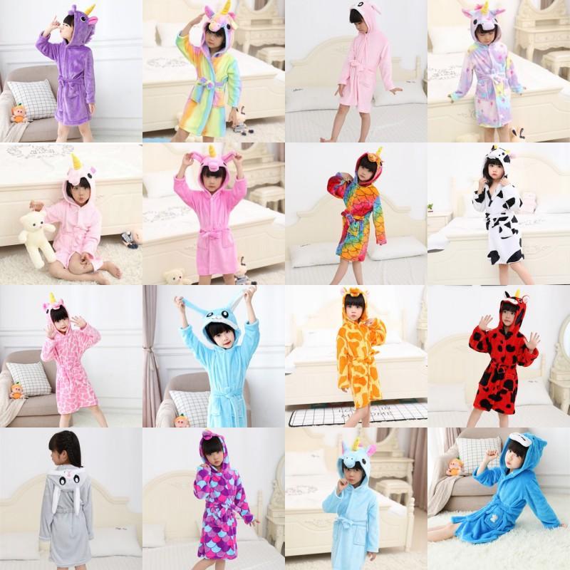 Capuz Unicorn Crianças Roupão Animal Orelha Decorar Cute Kid Nightgowns Bolso Corda Flanela Pijama Menino Menina Estrelas 24cq G2