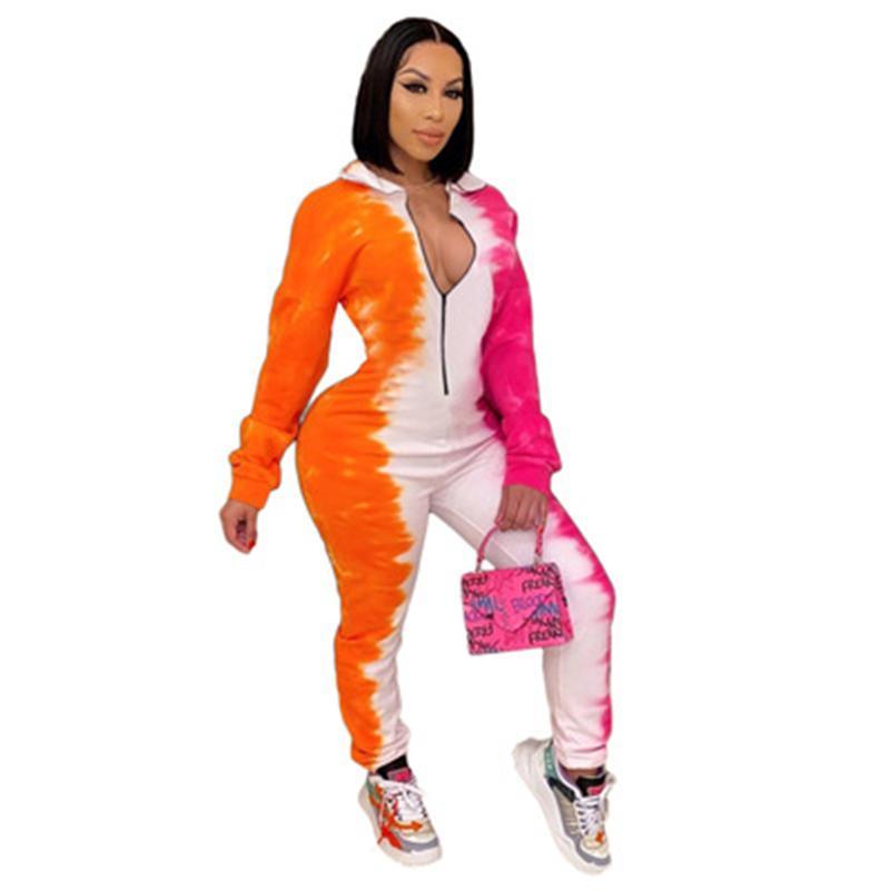 Frauen Multicolor Printing Rompers Mode Trend Langarm V-Ausschnitt Tops Hose Skinny Jumpsuits Designer Winter Weibliche neue schlanke beiläufige Strampler