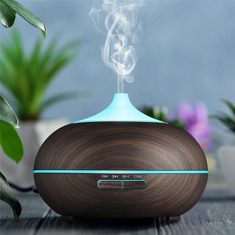Ultrasonic Wood Grain Aroma Diffuseur Humidificateur Bureau Chambre Essential Huile Diffuseur Fogger Mist Maker Arôme LED Lampe
