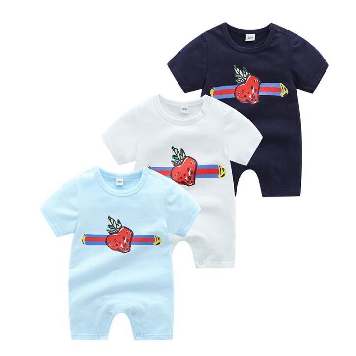 Herbst Baby Jungen und Mädchen Strampler Kinder Kurzarm Jumpsuits Infant Girls Strawberry Print 100% Baumwolle Strampler Jungen Kleidung Hohe Qualität