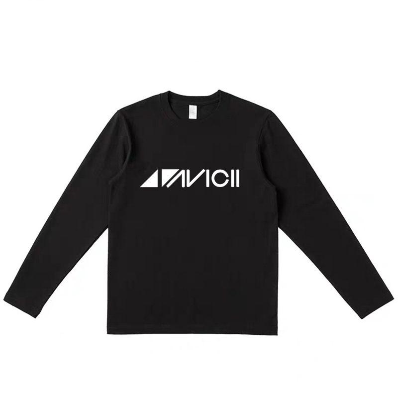 T-shirt manica lunga Avicii Men Tshirt Black Cotton Graphic Print Letter T-Shirt Autunno Tees Abiti a maniche lunghe