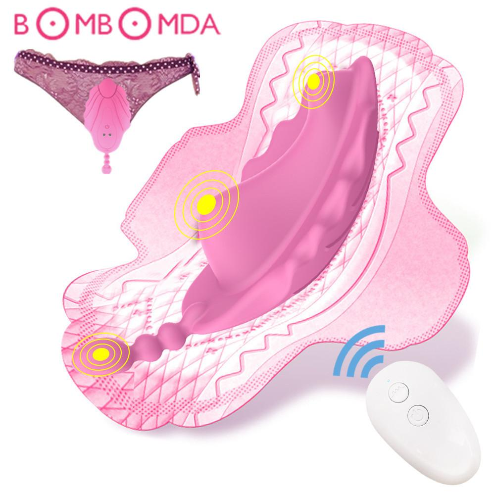 Giyilebilir Külot Yapay Penis Vibratör Kablosuz Uzaktan Kumanda Kelebek Vibratör Kadın Masturbatir Görünmez Yetişkin Seks Oyuncak Kadın Için LJ201124