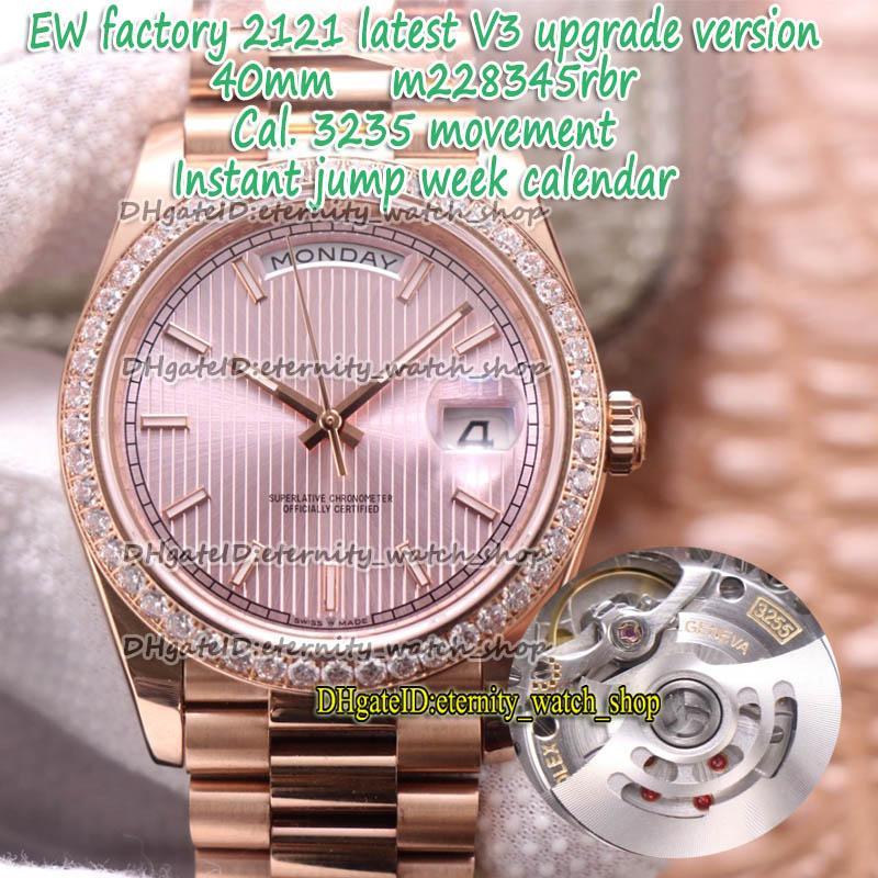Eternity EWF 2021 V3 الإصدار 40MM CAL.3255 التلقائي الحبوب العمودي 18CT الاتصال الهاتفي 228345 رجل ووتش روز الذهب حالة الماس الحافة 228235 228348