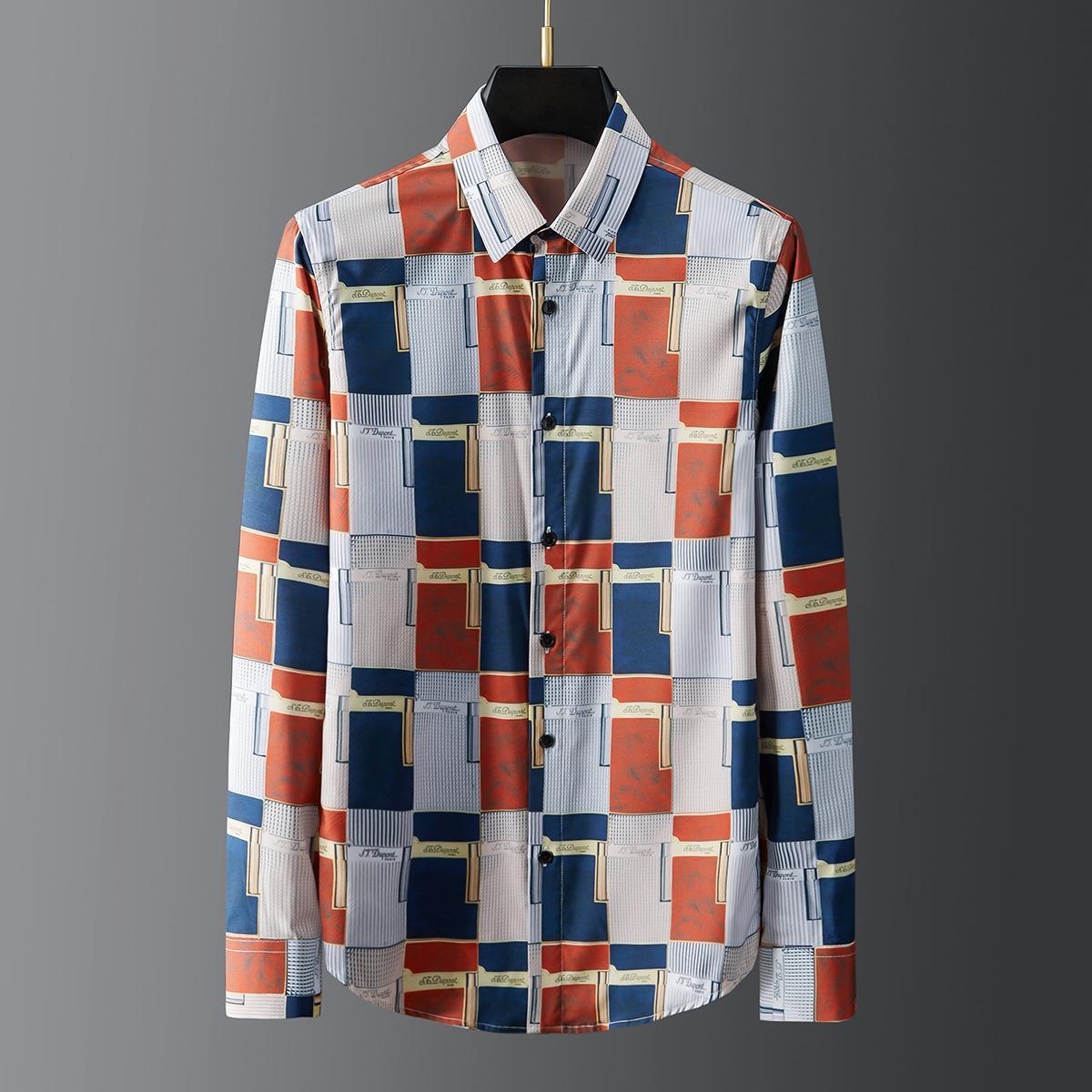 Nuevas camisas masculinas impresas geométricas de lujo de manga larga casual para hombre camisas moda slim fit fiesta hombre camisas más tamaño 3xl