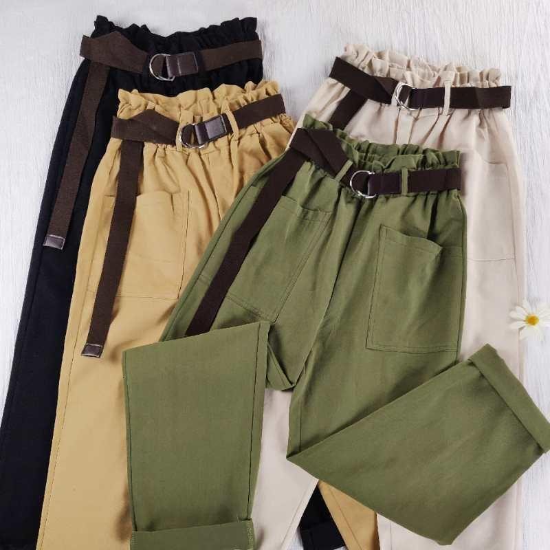 Pantolon Kore Kemer Rahat Joggers Sweatpants Yüksek Bel Harajuku Streetwear Kargo Pantolon Kadın Gevşek Kadın Drop Shipping