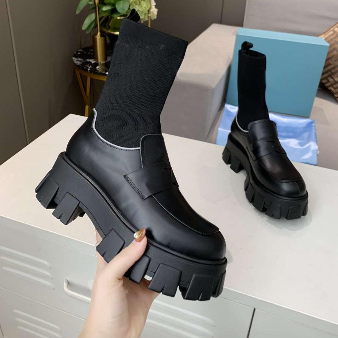 Kadın Çizmeler Siyah Rockoko Savaş Bootis Tasarımcı Çorap Martin Boot Gerçek Deri Ayak Bileği Bootes Dantel-Up Örgü Çorap Ayakkabı 5 Renkler Kaliteli