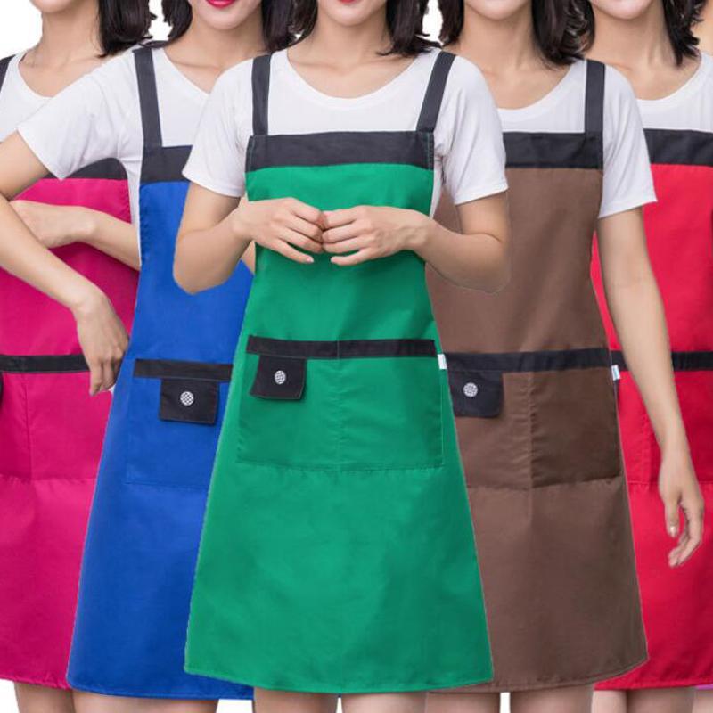 Color puro Cocina Cocina Delantal para mujer Hombres Chef Camarero Cafetería Tienda BBQ Peluquería Delantales BIBS Accesorio de cocina DHL Envío