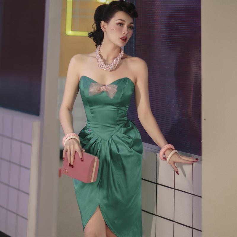 2021 NUEVO Le Palais Original Vintage Impresionante Emeralda Mercerized Skinny Plied Sin Strapless Duración de la rodilla Cajew