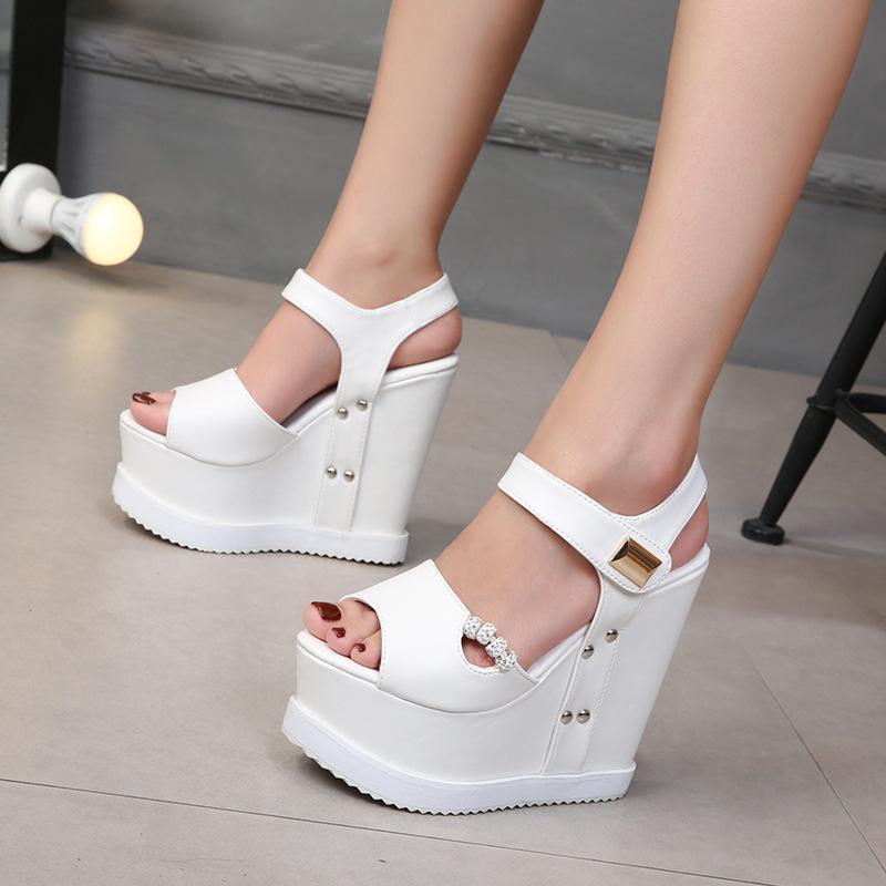 Femme Sandales Été Noir Hauts High High Heels 14cm Gladiator Talons Fashion Plateforme Coins Chaussures Pour Femmes Gladiator Scies Chaussures