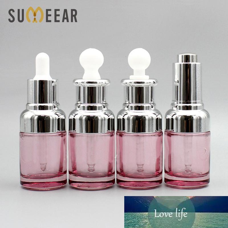10 peças / lote 30ml frasco de perfume rosa frasco de vidro transparente garrafa de prata ombreira de óleo essencial goteiro garrafa