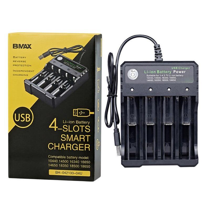 Multifuncional 18650 USB Carregador Quad Slot Bateria de Li-ion para 3.7V 26650 10440 16340 16650 18350 18500 bateria de lítio recarregável