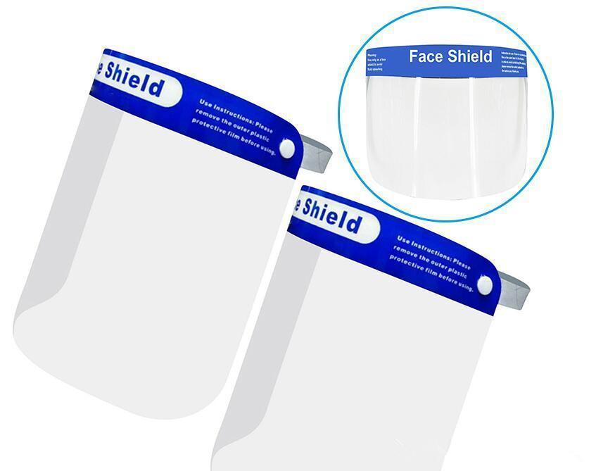 Sécurité faceshield transparent ECO ECO PET transparent Plastique Réutilisable Protection anti-éclaboussures et masque de bouclier de brouillard DHL