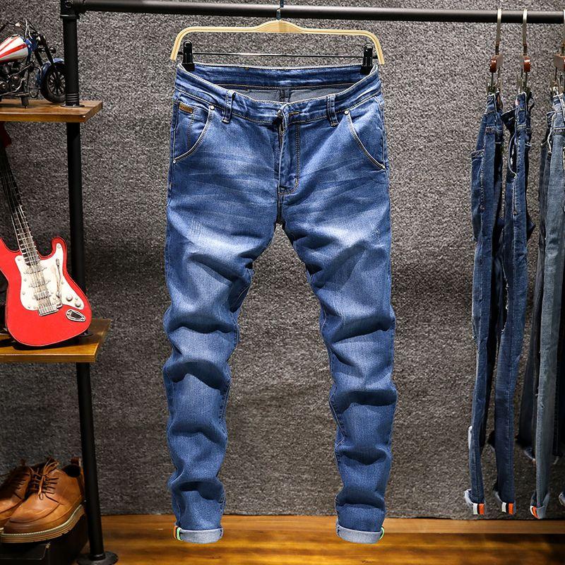 Модный дизайнер худые мужчины прямые темно-синие каки цвет мужские повседневные днн байкер джинсовые джинсы мужские стрейч Brok