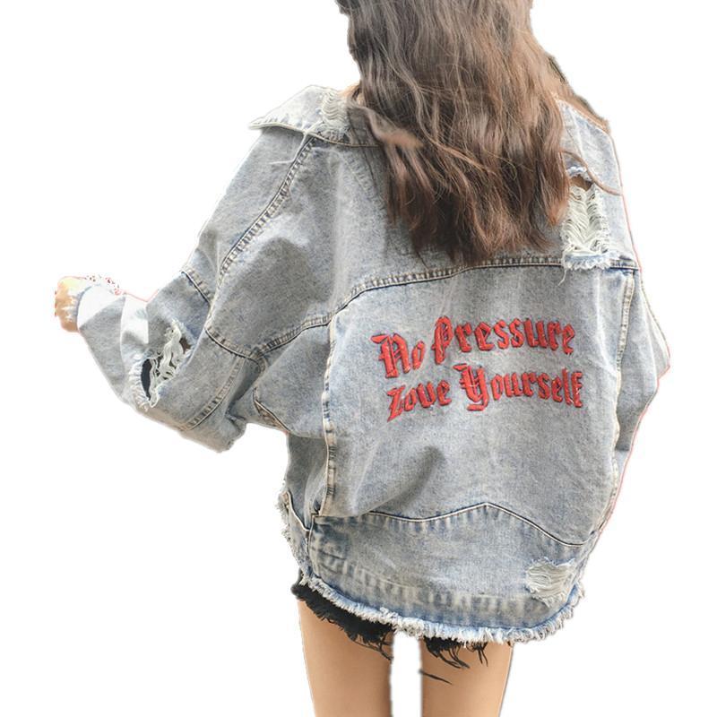 Kadınlar için Gevşek Denim Ceket Yeni Mektup Nakış Ceket Rahat Artı Boyutu Jean Ceket Boy Delik Basic