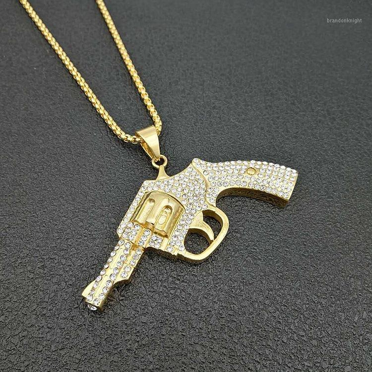 Hip Hop Rhinestones Paved Bling Iced Out Gold Silver Color Stainless Steel Revolver Gun Pendants Necklace for Men Women Jewelry1