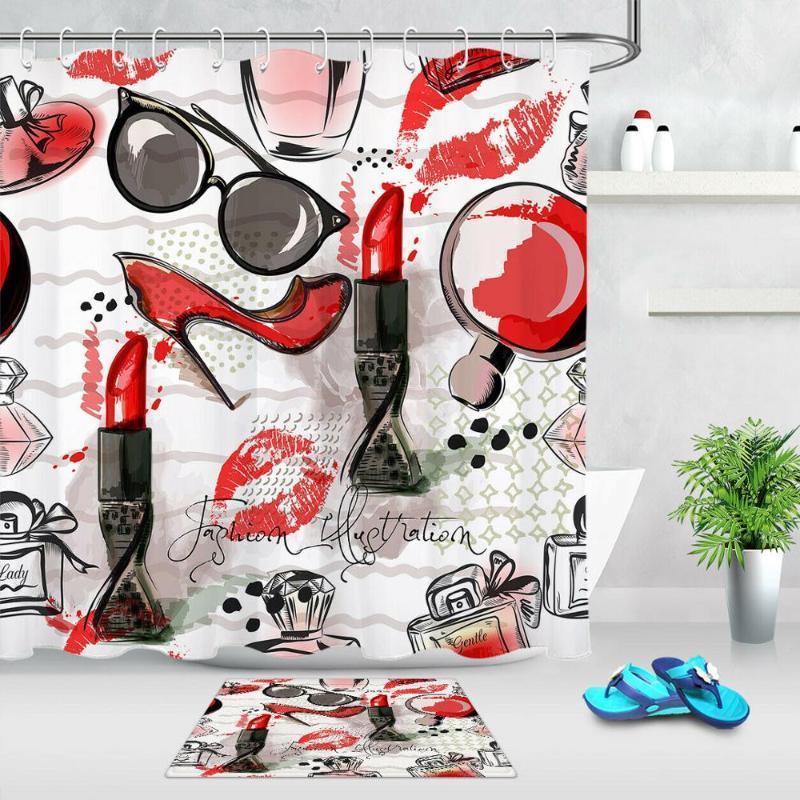 Maquillage rideau de douche de mode pour femmes Salle de bain Décor cosmétiques Rouge à lèvres Art Parfums Imprimer Accessoires de bain Ensembles