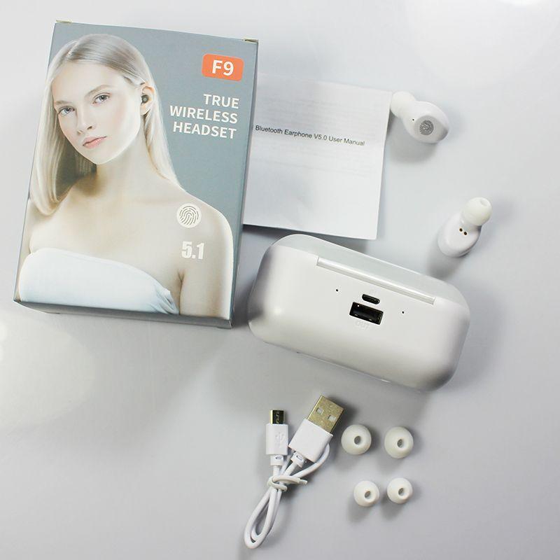 Les plus récents F9 TWS VRAI Écouteurs sans fil Bluetooth Touch Control avec étui de charge sans fil Écouteurs stéréo imperméables