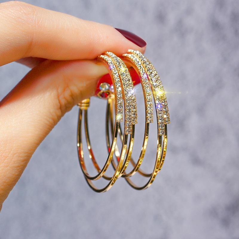 925 silver needle Hoop Earrings European and American exaggerated full diamond geometric Circle temperament versatile C-shaped Earring
