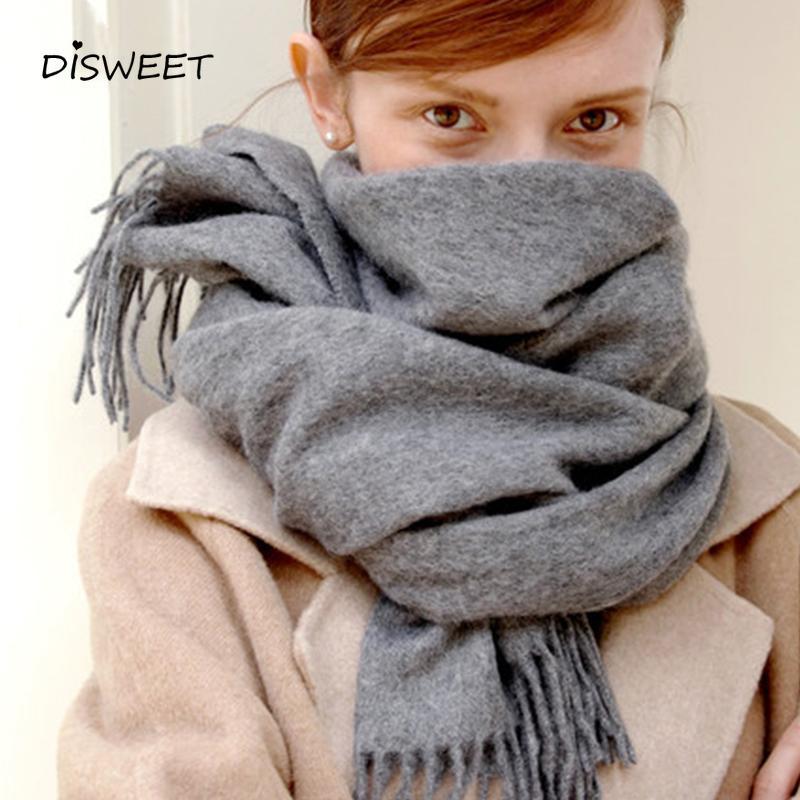 Сплошная кашемировая женщина мода теплый толстый зима для женщин простые и длинные женские высококачественные шарф 2020