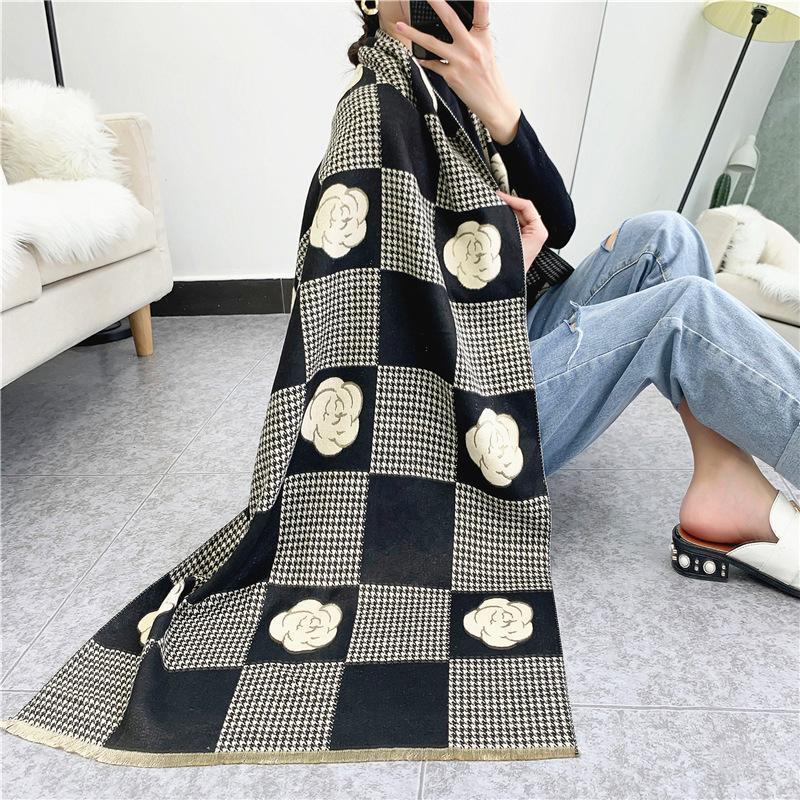 الأوشحة 2021 كاميليا الأزهار الكشمير المرأة الشتاء سميكة الدافئة بطانية الصوف وشاح شال يلتف جوانب مزدوجة المتاحة