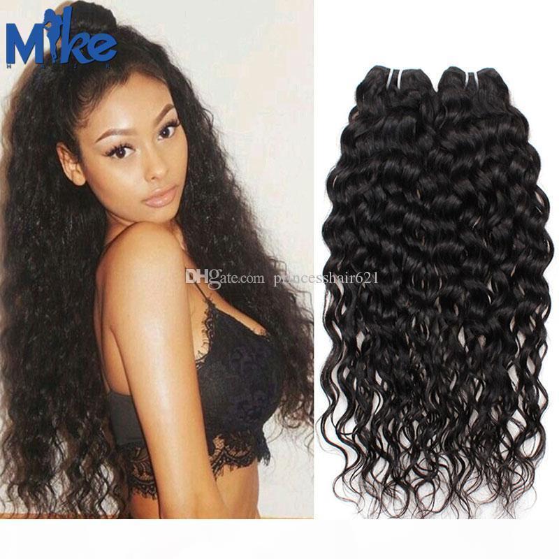 MIKEHAIR Brasileño Remy Human Hair Weaves 2 paquetes de onda profunda onda ondulada paneles humanos paquetes 100g PC Peruano Peruano Malasia Indian Hair Extensiones
