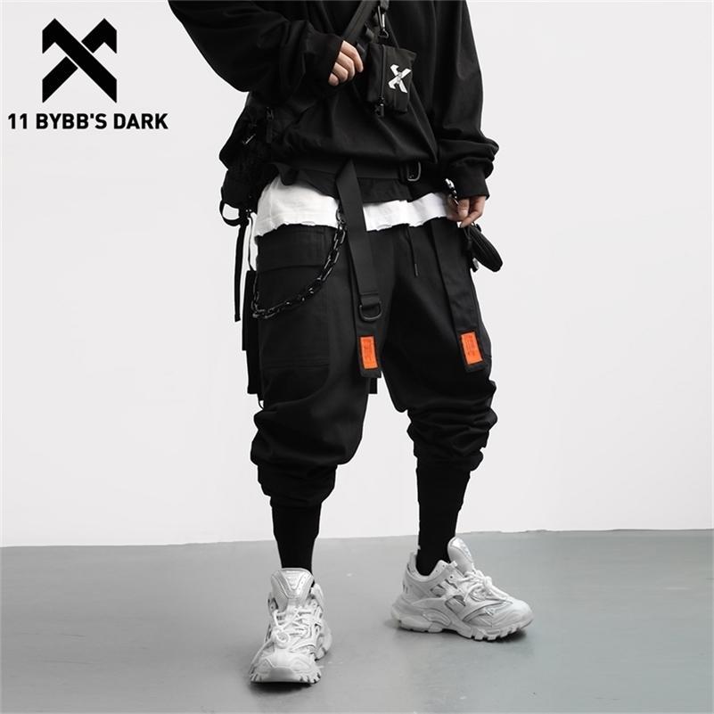 11 ByBB's Dark Streetwear Streetwear Rimovibile Nastro Cargo Pant Man Hip Hop Funzione Pantaloni Tactical Pantaloni Tactical Vita elastica Jogger Uomo Pantaloni 201106