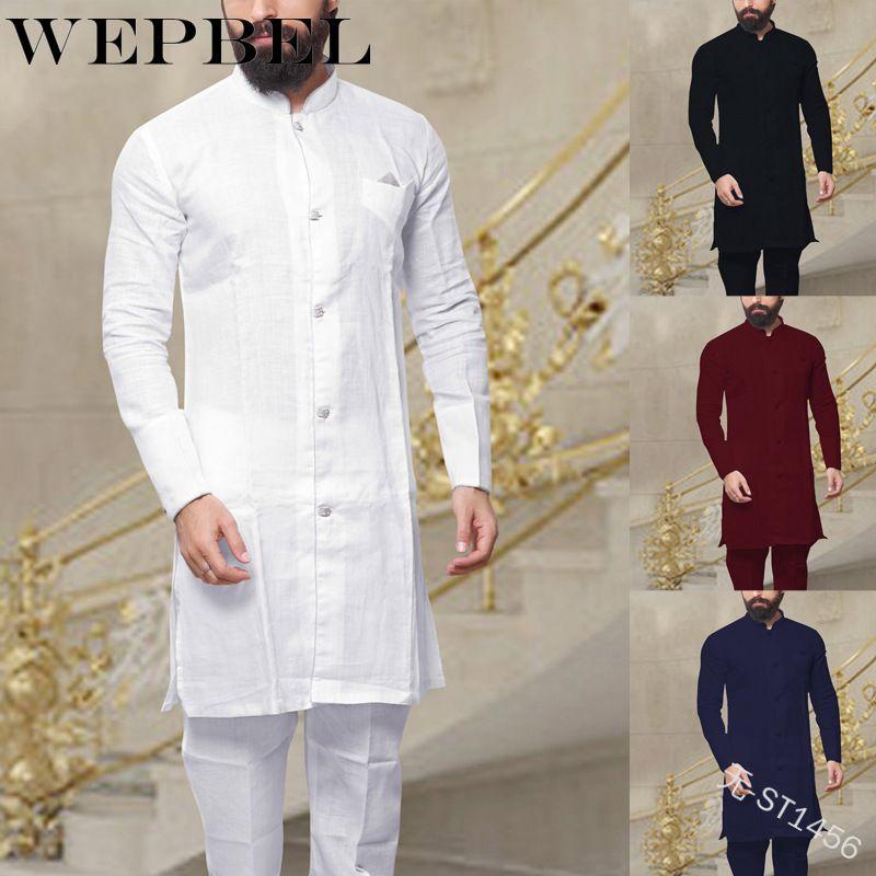 Wepbel Мусульманская мода мужская кафтан халат винтаж с длинным рукавом белья рубашка рубашка исламская абая одежда для мужчин плюс размер S ~ 5xL C1210