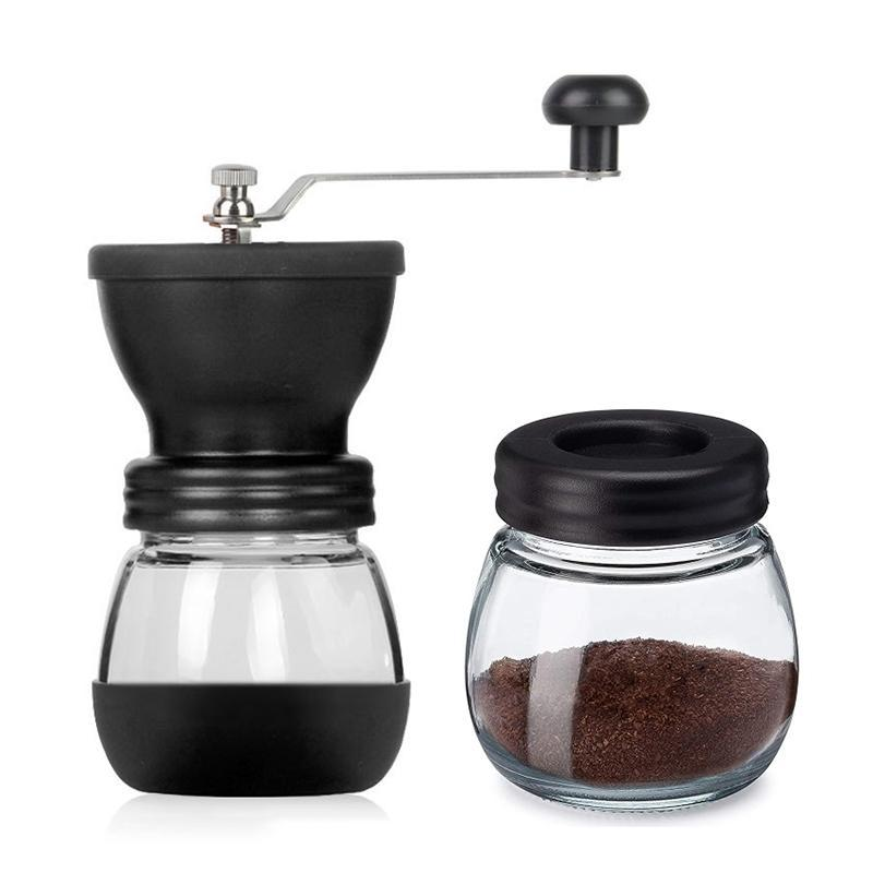 Manual Coffee Grinder Set with Ceramic Burrs Hand Coffee Mill with Glass Jars Adjustable Coarseness Hand Grinder