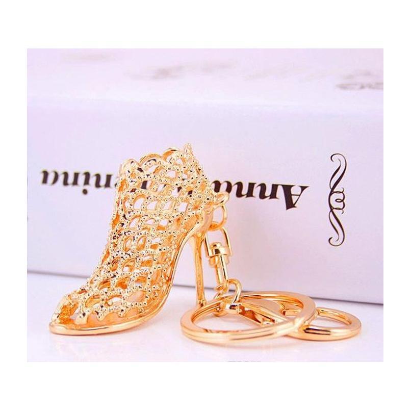 Altın Anahtar Yüzükler Promosyon Düğün Hediyesi Kristal Parlak Yüksek Topuk Ayakkabı Araba Anahtarı Tutucu Bayan Yaratıcı Çanta Süsleme WMTGFV HOMES2007