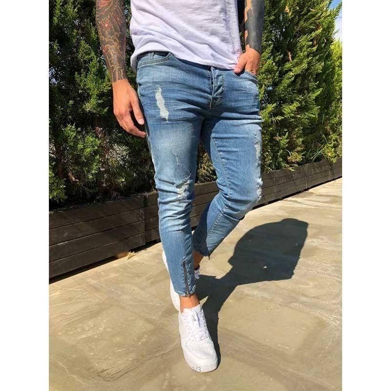 Herren Ripping Jeans für Männer Casual Black Blue Skinny Slim Fit Denim Hosen Biker Hip Hop Jeans Reißverschluss Designer Denim Hose 201111