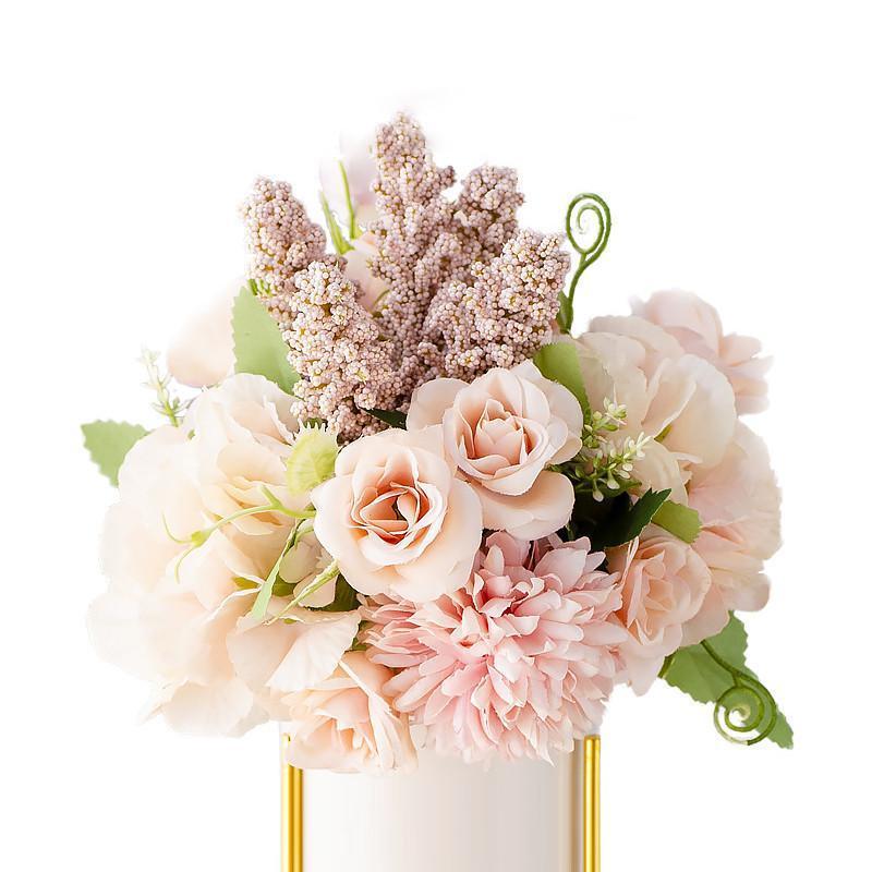 Nuevo 13 mezclas florales Bouquet Fleurs Artificielles Verter Le Mariage 22 cm Longitud Flores y hojas Flores artificiales Alta calidad