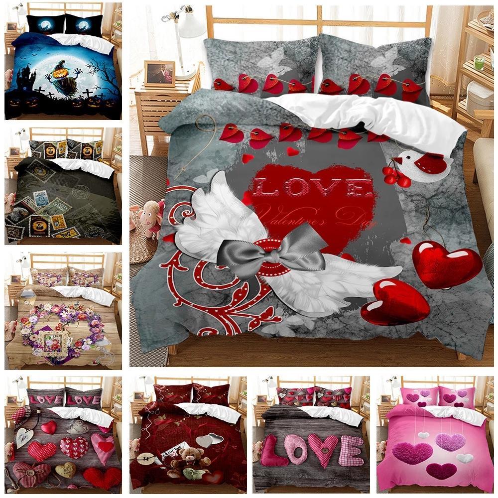 Nuevo Día de San Valentín 2021 Love Heart Pattern 3D Imprimir Plazas de cama Conjuntos de ropa de cama Queen Twin Tamaño único Duvet Funda Conjunto de funda de almohada Regalo de lujo