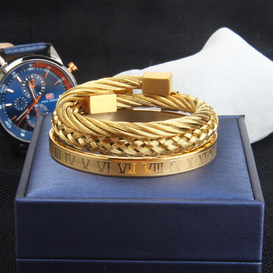 الأزياء 3 قطعة / المجموعة سوار الانجلز للرجال الذهب والفضة الفولاذ المقاوم للصدأ مجوهرات للرجال حزب هدية