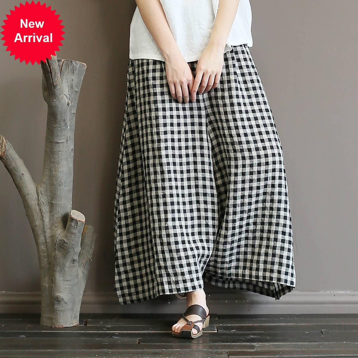 Johnature Vintage Plaid Plaid Mid Cintura Pantalones 2020 Nuevos bolsillos sueltos sueltos Mujeres de longitud completa Longitud ancha Pantsw32