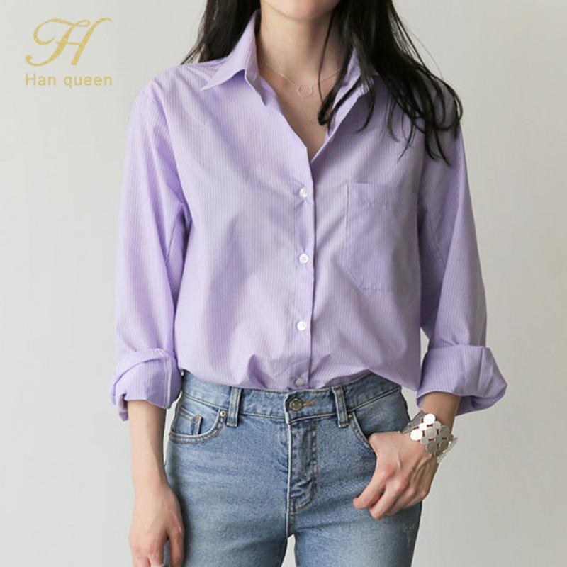 H Han Reina Camisas Blusa a rayas Cuello de rechazo Oficina de otoño Oficina Dama Tops de manga completa Luz Púrpura Moda Femenina Blusas