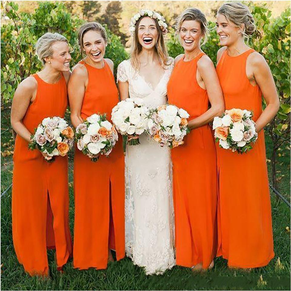 SECY Orange Simple Country Country Country Long Pas Cher Robes de demoiselle d'honneur De Mariage Robes d'invité avec Front Split Midon Honor Robes Vestidos