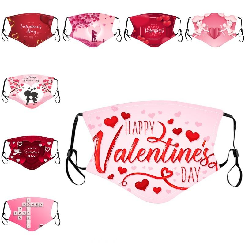 DHL Shipping Valentine's Day Face Mask for Women Men Washable Reusable Masks Unisex Outdoor Breathable Cycling Mouth Cover Kimter-B271F