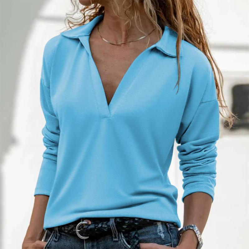 Женские блузки Рубашки Блузка Женщины Зима Зимняя Рукав Глубокий V Шея Сплошной Пуловер Цвет Топ Одежда Blusa Mujer