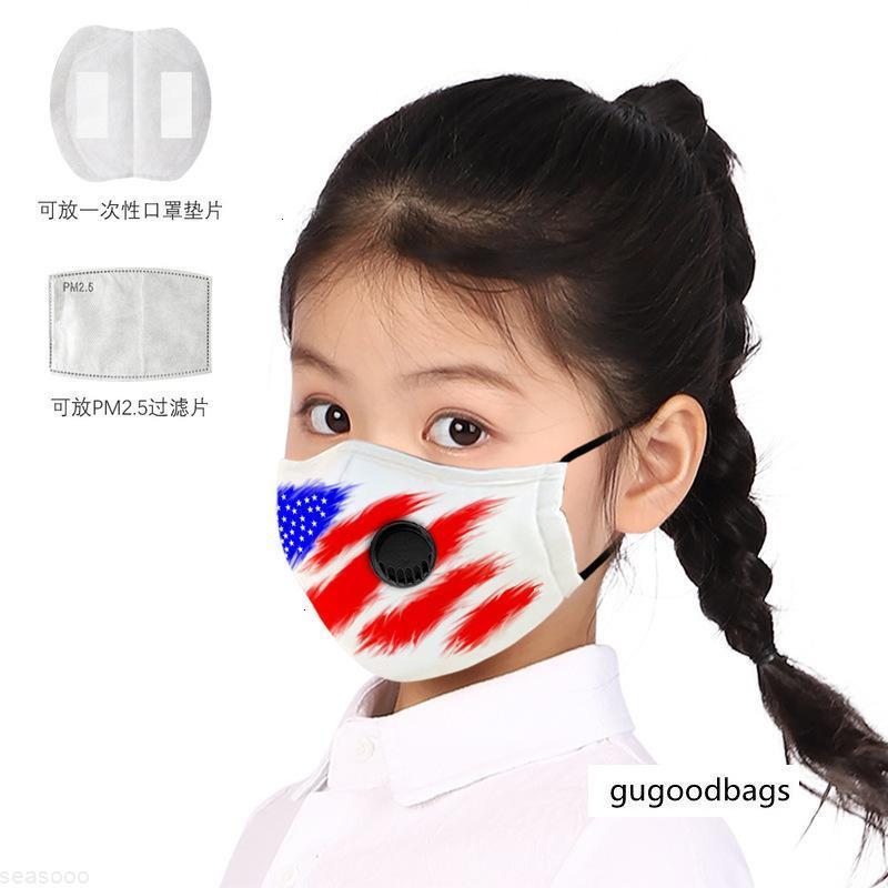 Máscara de válvula Dia das Crianças PM2.5 Filtro Algodão Americano Anti-Haze Independência com pano DBWJX