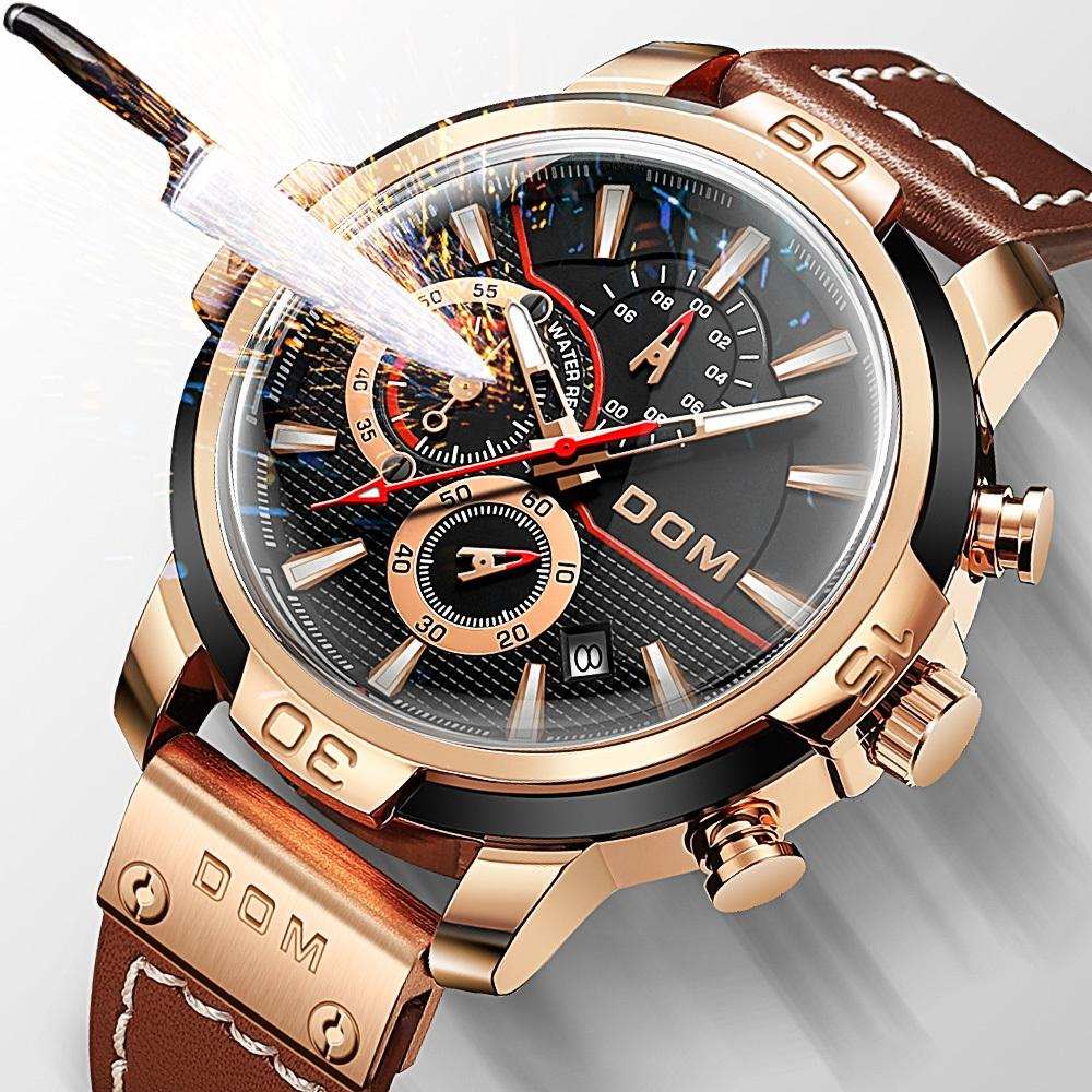 DOM Waterproof watches Men's watches men's sports watch Men's wristwatch clock Man watch Gifts for men Multifunction watch 1324Q0108