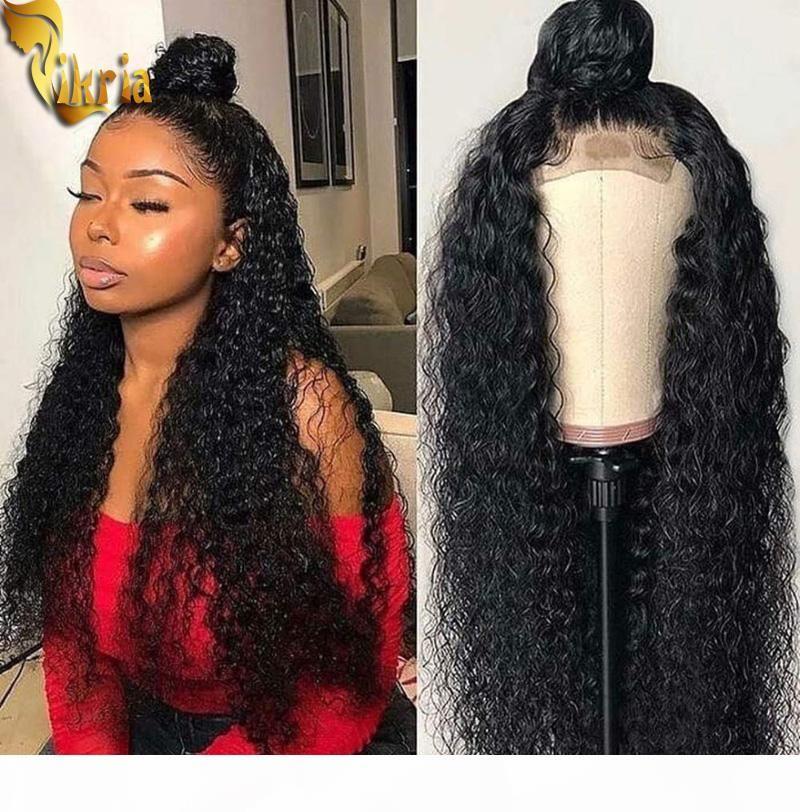 Kinky encaracolado onda profunda rendas cheia de cabelo humano peruca peruca perucas frontais 100% não transformado brasileiro brasileiro peruano cabelo virgem pré-arrancado hai