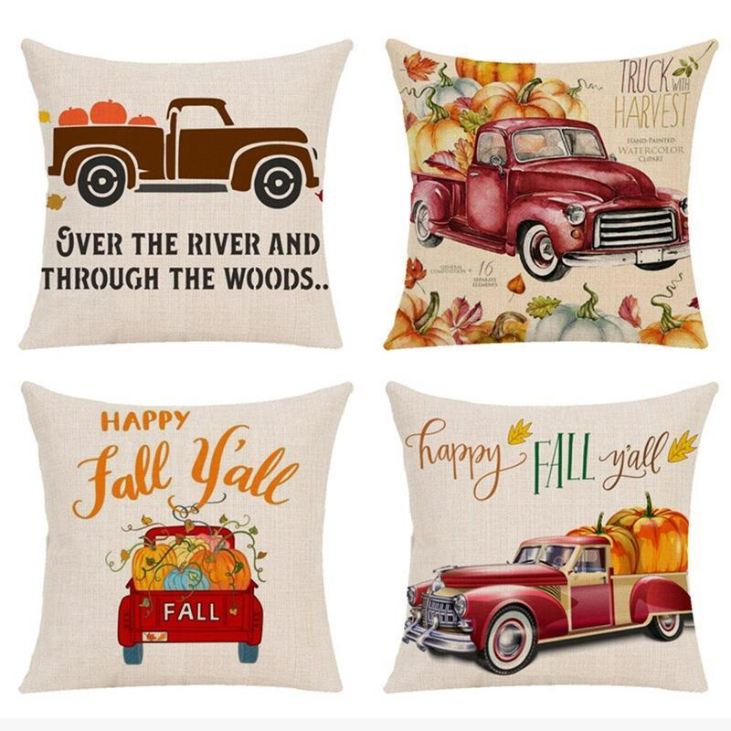 Cojín / almohada decorativa Casos de Halloween Happy Fall Y'all Algodón de algodón Sofá Sofá Cojín de cojín de calabaza Decoración del hogar 2021 Llegada