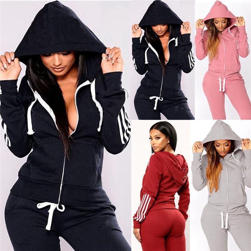 Frauen-Sweatsuit mit Kapuze Zwei Stück Sets Sport Outfits Langarm Jacke + Leggings Winterkleidung Jogger Anzug Casual Sportswear 3882