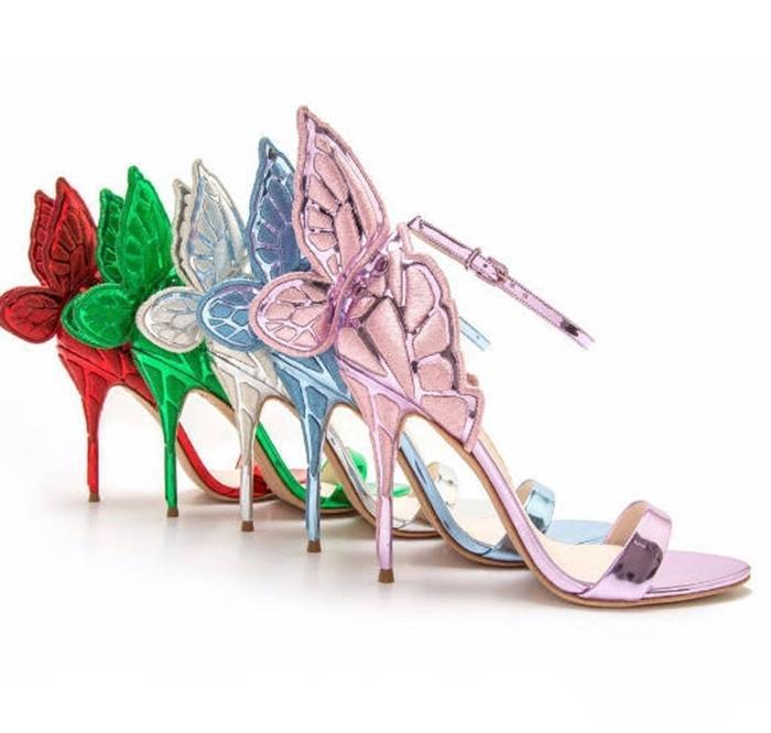 Metal Butterfly Tank Angel Wings, одетые в качестве партийных бомб из сандалии Женские открытые ноги, завернутые в кожаные натуральные на высоких каблуках NR6Y