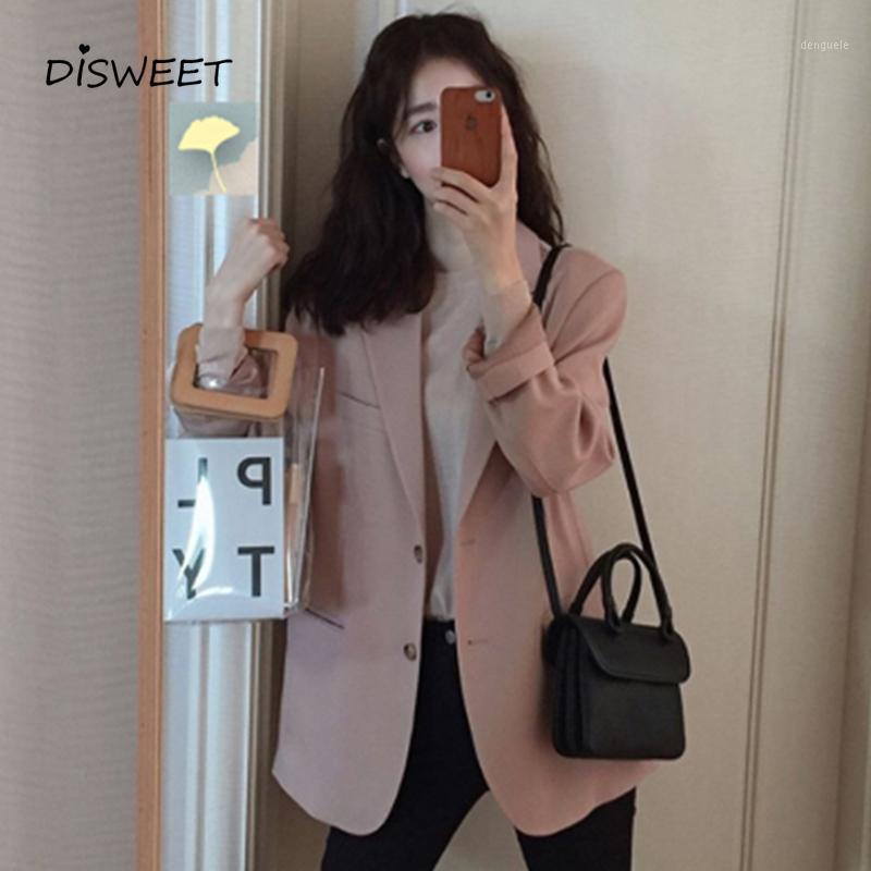 Simple poitrine longue manches longues blazer lâche femme simple slim costume collier costume massif veste femme coréenne automne 's1